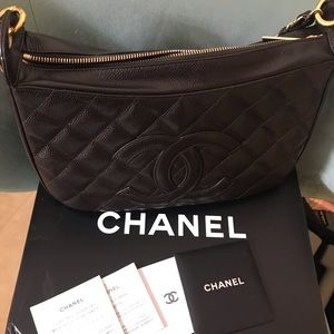 Chanel BROWN quilted caviar shoulder bag